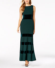 Vince Camuto Velvet-Panel Gown