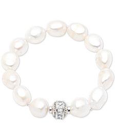 Carolee Silver-Tone Crystal Bead & Freshwater Pearl (12-13mm) Magnetic Link Bracelet