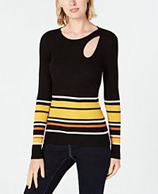 I.N.C. Striped Teardrop-Cutout Sweater, Created for Macy's
