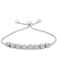 Diamond Cluster Bolo Bracelet (1/5 ct. t.w.) in Sterling Silver