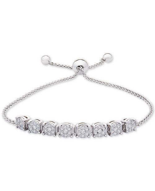 c58bcf171cba0f ... Macy's Diamond Cluster Bolo Bracelet (1/5 ct. t.w.) in Sterling Silver  ...