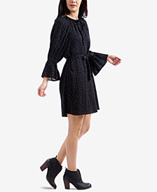 Lucky Brand Dot-Print Bell-Sleeved Dress