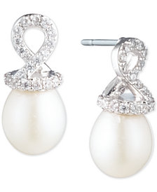 Carolee Silver-Tone Crystal & Freshwater Pearl (10mm) Helix Cap Stud Earrings