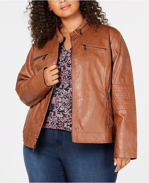 c1b9b35a6d9 Maralyn   Me Juniors  Plus Size Faux-Leather Moto Jacket   Reviews ...