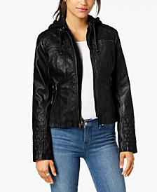 Maralyn & Me Juniors' Hooded Faux-Leather Moto Jacket