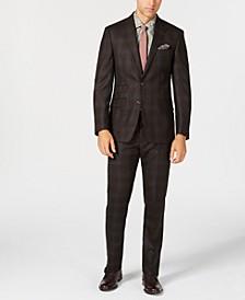 Men's Slim-Fit Stretch Dark Brown/Light Blue Plaid Wool Suit