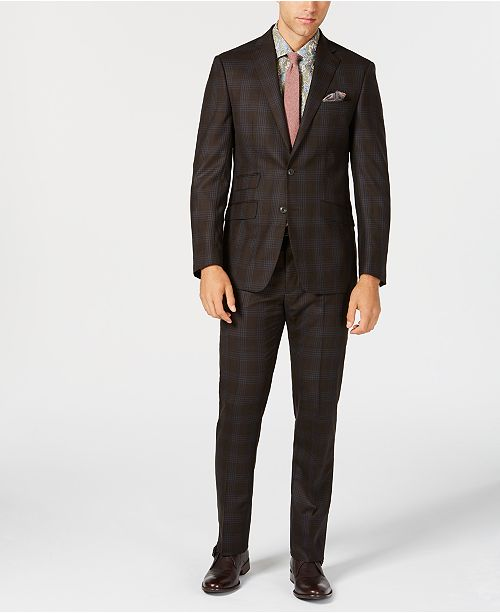67892c5054d0bd ... Tallia Men's Slim-Fit Stretch Dark Brown/Light Blue Plaid Wool Suit ...