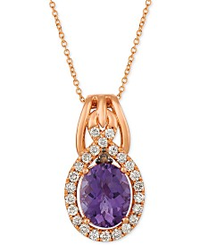 "Le Vian® Amethyst (2-1/2 ct. t.w.) & Diamond (3/8 ct. t.w.) 20"" Pendant Necklace in 14k Rose Gold"