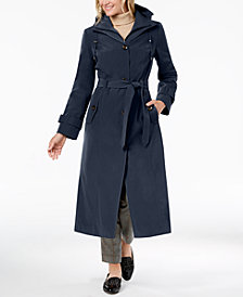 London Fog Petite Belted Maxi Trench Coat