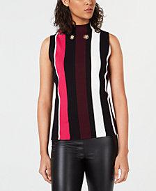 Bar III Striped Grommet Sleeveless Top, Created for Macy's