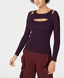 Bar III Cutout Ribbed Sweater, Created for Macy's