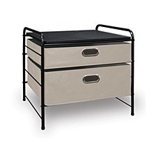 Multi-Use Small Storage Cart, Beige Bins