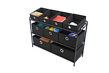 Deluxe Storage Rack with Black Bins