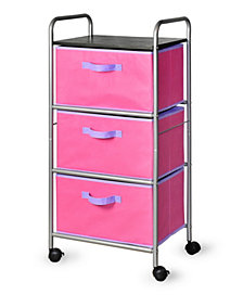 3-Drawer Cart with MDF Top, Pink
