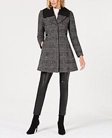 GUESS Skirted Plaid Walker Coat