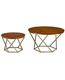 Geometric Coffee Table Set- Walnut/Gold