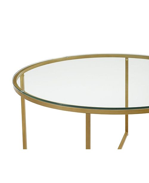 Walker Edison 36 Coffee Table With X Base Glassgold Home Macys