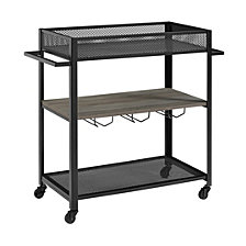 """36"""" Industrial Metal and Wood Bar Serving Cart with Shelf and Hangers - Grey Wash"""
