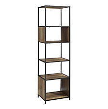 "70"" Urban Industrial Metal and Wood Bookshelf Audio Media Bookshelf - Rustic Oak"