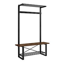Urban Industrial Blend Metal and Wood Coat Rack Storage Hall Tree with Bench - Dark Walnut