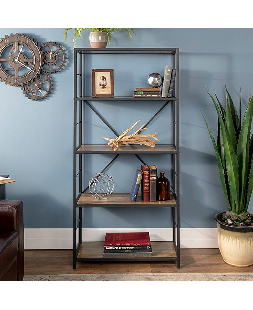 Walker Edison 63 Rustic Metal And Wood Media Bookshelf