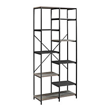 "68"" Urban Industrial Multi-Level Mesh and Wood Bookshelf - Grey Wash"