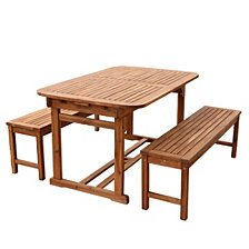 3-Piece Acacia Wood Outdoor Patio Dining Set - Brown