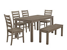 6-Piece Farmhouse Wood Kitchen Dining Set - Aged Grey