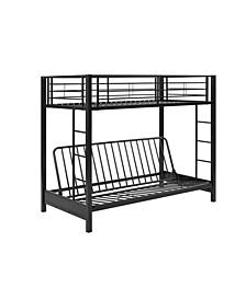 Premium Metal Twin over Futon Bunk Bed - Black
