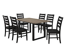 7-Piece Rustic Farmhouse Wood Kitchen Dining Set - Aged Grey/Black