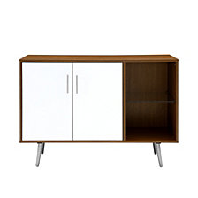 "44"" Mid Century Assymetrical Sideboard Buffet TV Stand w/ Accent Storage - Acorn/White"