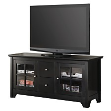 "52"" Wood TV Media Stand Storage Console - Black"