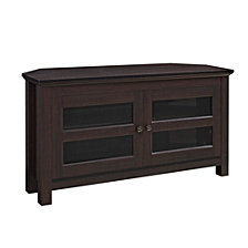 "44"" Transitional Wood Corner Media TV Stand Storage Console - Espresso"