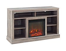 "52"" Transitional Fireplace TV Stand Storage Console - Grey Wash"