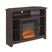 "44"" Transitional Wood Corner Highboy Fireplace TV Stand - Espresso"