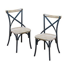 Reclaimed Wood Industrial Metal Dining Chairs, Set of 2