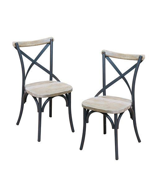Walker Edison Reclaimed Wood Industrial Metal Dining Chairs, Set of 2