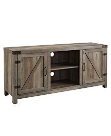 "58"" Farmhouse TV Stand with Barn Door Side Doors - Grey Wash"