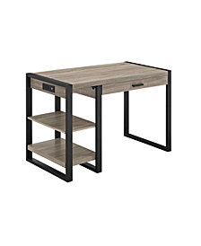 "48"" Urban Industrial Metal and Wood Storage Home Office Computer Desk with Keyboard Tray and 2 Shelves  - Driftwood"