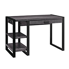 "48"" Urban Industrial Metal and Wood Storage Home Office Computer Desk with Keyboard Tray and 2 Shelves  - Charcoal"