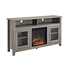 """58"""" Transitional Wood Highboy TV Stand with Electric Fireplace Insert - Driftwood"""