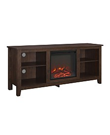 "58"" Wood TV Stand Console with Fireplace - Brown"