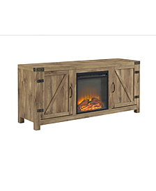"58"" Rustic Farmhouse Barn Door Fireplace TV Stand Storage Console - Barnwood"