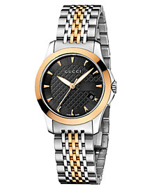 Gucci Women's Swiss G-Timeless Two Tone Stainless Steel Bracelet Watch 27mm YA126512