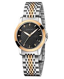 Gucci Women's Swiss G-Timeless Two Tone Stainless Steel Bracelet Watch 27mm YA126512