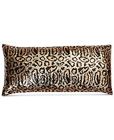 """THRO Chi Chi Cheetah Faux Silk Sequin 12"""" x 24"""" Decorative Pillow"""