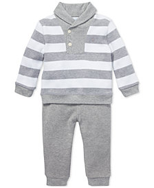 Ralph Lauren Baby Boys Striped Cotton Top & Pants Set