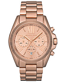 Michael Kors Women's Chronograph Bradshaw Rose Gold-Tone Stainless Steel Bracelet Watch 43mm MK5503