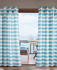 Madison Park Percee Grommets Printed Cabana Stripe 3M Scotchgard Outdoor Panel