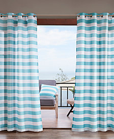 Madison Park Percee Grommets Printed Cabana Stripe 3M Scotchgard Outdoor Panel